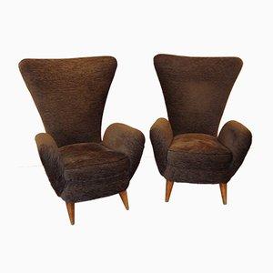 Italienische Sessel aus Eiche & Braunem Samt, 1950er, 2er Set