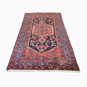 Vintage Hamadan Rug on Red Ground