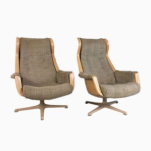 Swedish Galaxy Futuristic Swivel Chairs by Alf Svensson and Ingvar Sandstorm for DUX, 1960s, Set of 2