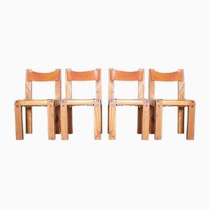 Ashwood & Leather Chairs by Pierre Chapo, 1960s, Set of 4
