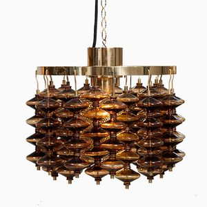 Vintage Smoked Glass T581/H Estrella Ceiling Light from Hans Agne Jakobsson