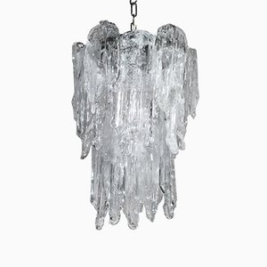 Vintage Ice Glass Chandelier from Mazzega, 1960s