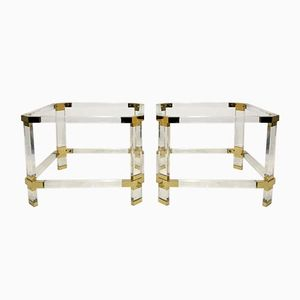 Vintage Lucite and Brass Side Tables, Set of 2