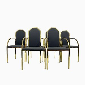 Vintage Brass Dining Armchairs, Set of 6