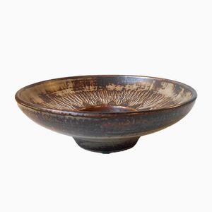 Mid-Century Stoneware Bowl with Sunflower Motif by Gerd Bøgelund for Royal Copenhagen