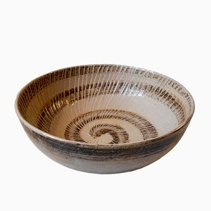 Large Stoneware Bowl with Spiral Motif by Gerd Bøgelund for Royal Copenhagen, 1950s