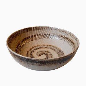 Large Stoneware Bowl with Spiral Motif by Gerd Bøgelund for Royal Copenhagen, 1950s