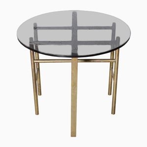 French Brass & Smoked Glass Side Table, 1960s