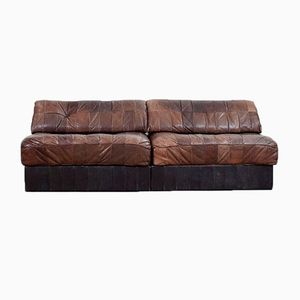 Modular Sofa in Cigar Brown Leather from de Sede, 1970s