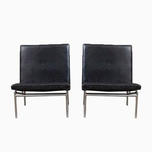 Black Leather Lounge Chairs by Poul Norreklit, 1950s, Set of 2