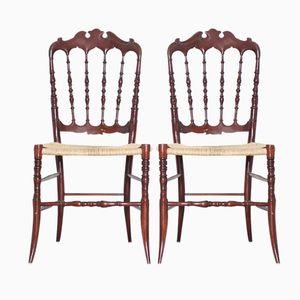Antike Chiavari Stühle mit Gewobenem Sitz von Giuseppe Gaetano, 2er Set
