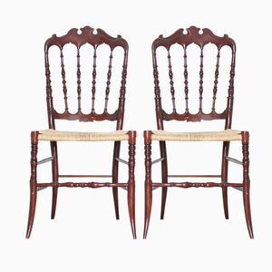 Antique Chiavari Chairs with Woven Cane by Giuseppe Gaetano, Set of 2