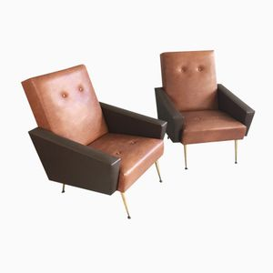 French Two-Tone Vinyl Armchairs, 1960s, Set of 2