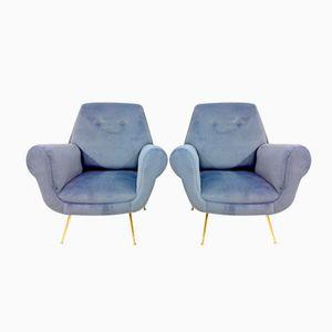 Italienische Sessel mit Messingbeinen, 1960er, 2er Set