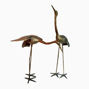 Freistehende Messing Vögel, 1960er, 2er Set