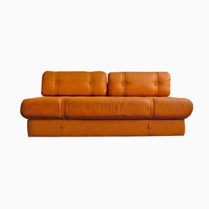 Cognac Skai Leather Sofa, 1970s