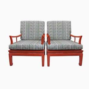 Chinesische Sessel mit Gestell in Korallenrot, 1970er, 2er Set