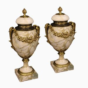 Marble Potish Vases, 1920s, Set of 2