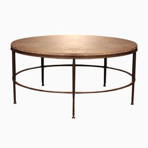 French Marble Topped Brass Coffee Table, 1950s