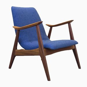 Vintage Afrormosia and Fabric Lounge Chair