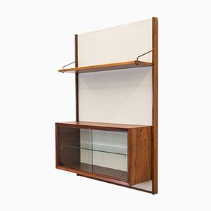 Vintage Rosewood and Fabric Wall Unit