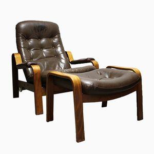 Easy Chair Vintage avec Ottomane de Göte Möbler, 1970s