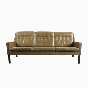 Canapé Vintage Trois Places Marron en Cuir de Thams Furniture Company