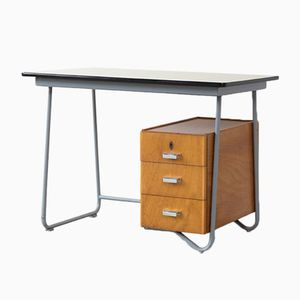 Bauhaus Style Tubular Steel and Formica Desk, 1950s