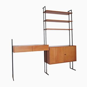 Mid-Century Modular Bookshelf with Desk