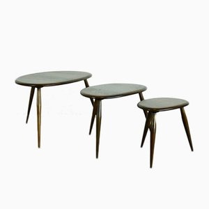 Vintage Nest of Dark Pebble Tables by Lucian Ercolani for Ercol