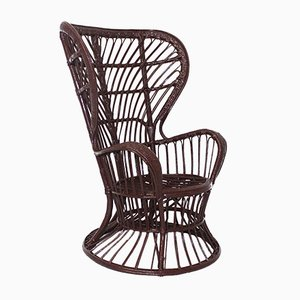 Italian Rattan Wingback Chair, 1950s