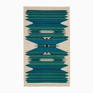 Handgewebter Dänischer Vintage Wandteppich in Blau & Türkis von Mette Birckner, 1980er