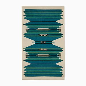Vintage Danish Blue and Turquoise Handwoven Tapestry by Mette Birckner, 1980s