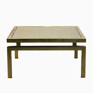 Table Basse Dorée en Verre, 1970s