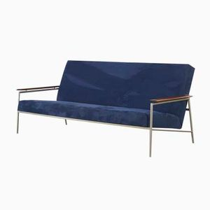 Mid-Century Sofa with Metal Frame and Teak Armrests