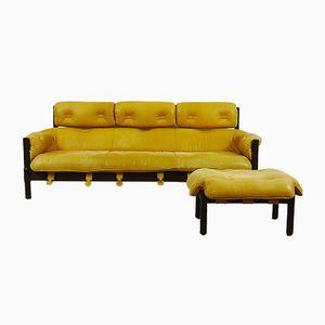 Mid-Century Brazillian Style Leather Lounge Sofa with Footstool