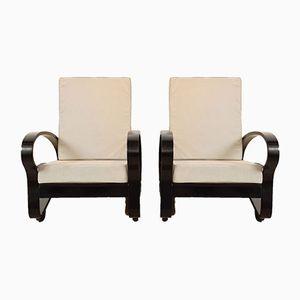 French Ebonized Art Deco Lounge Chairs, 1930s, Set of 2