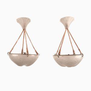 René Lalique Shell Deckenlampen, 2er Set