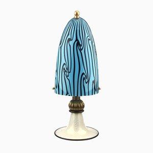 Lampe de Table en Verre Murano avec Feuille Dorée