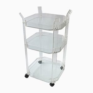 Vintage Plexiglas Three-Tiered Bar Trolley