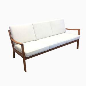 Danish White Three-Seater Sofa, 1960s