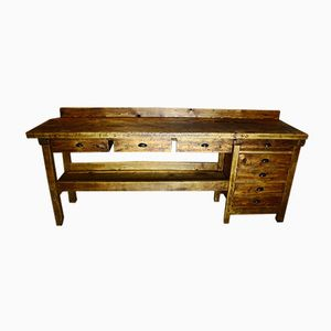 Vintage Beech Workbench with Drawers