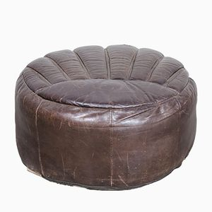 Large Dark Brown Leather Pouf, 1960s