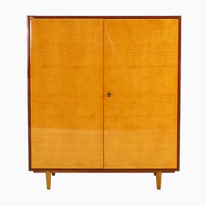 German Walnut and Maple Veneer Cupboard, 1950s