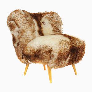 Chaise d'Appoint en Hêtre et en Peau de Mouton, Autriche,1950s
