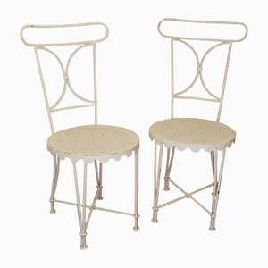 White Patinated Iron Chairs by Gilbert Poillerat, 1950s, Set of 2