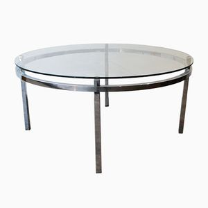 Belgian Chrome and Glass Coffee Table, 1970s