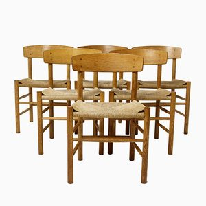J39 Chairs by Borge Mogensen for FDB Mobler, 1960s, Set of 6