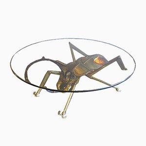 Vintage Tisch aus Messing & Achat in Insekten Optik
