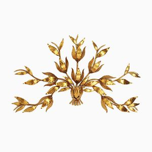 Large Italian Gilded Metal Foliage Wall Applique, 1970s